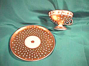 RS PRUSSIA (ES) BEADED GOLD PEDESTAL CUP & SAUCER (Image1)