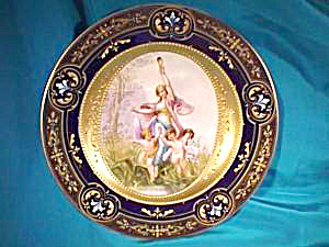ROYAL VIENNA SIGNED PORTRAIT PLATE/COBALT (Image1)