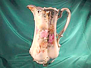 "RS PRUSSIA(RM)10 1/2""FOOTED FLORAL PITCHER (Image1)"
