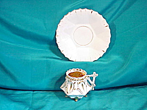 Unmarked White & Gold Cup & Saucer