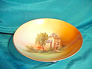 RS PRUSSIA (SILESIA) H.P. SCENIC FOOTED BOWL (Image1)