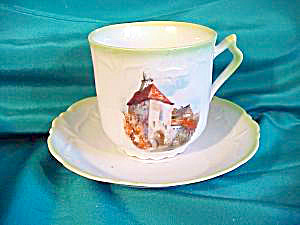 UNMARKED CUP & SAUCER WITH MEDIEVAL CASTLE (Image1)