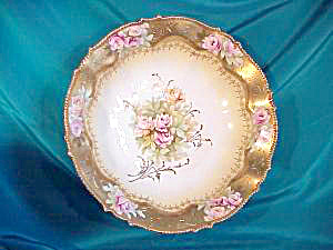 RS PRUSSIA HEAVY GOLD, PINK ROSES BOWL (Image1)