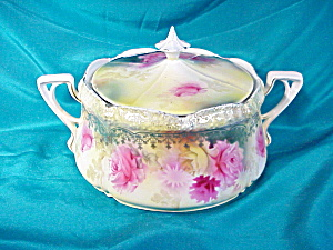 RS PRUSSIA(RM) STIPPLE FLORAL CRACKER JAR (Image1)