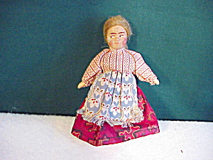ANTIQUE CLOTH DOLL W/MOHAIR WIG/PAINTED FACEA (Image1)