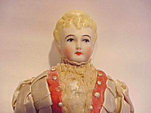 ANTIQUE GERMAN BLOND CHINA HEAD DOLL SILK DRE (Image1)