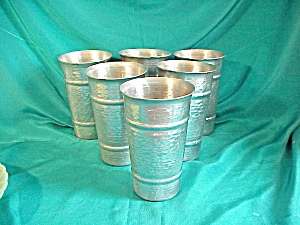 HAMMERED ALUMINUM SET OF SIX GLASSES (Image1)