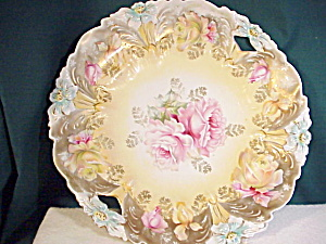 Rs Prussia Lily Mold O.h. Plate With Gold/gol