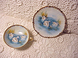 Rare Rs Prussia Swans Pedestal Cup And Saucer