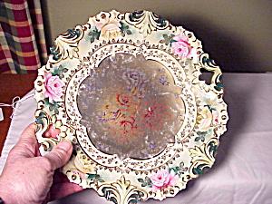 RS PRUSSIA FLEUR DE LIS OH PLATE W/ROSES (Image1)
