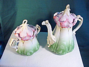 RS PRUSSIA MORNING GLORY MOLD TEAPOT/SUG. NR (Image1)