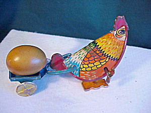 Tin Wind-up Chicken With Egg On Cart