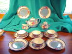 Click here to enlarge image and see more about item 1659: MADE IN JAPAN BLUE LUSTRE CHILD'S TEA SET