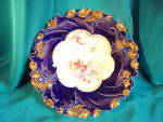 RS PRUSSIA(UM) COBALT AND GOLD FLORAL BOWL