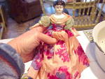Click to view larger image of CHINA LOW BROW DOLL WITH SILK CLOTHING HAND M (Image1)