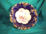 """Click to view larger image of RS PRUSSIA 10 1/2"""" COBALT & GOLD FLORAL BOWL (Image1)"""