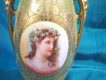 Click to view larger image of RS PRUSSIA (UM) DELICATE VASE W/WOMAN W/DAISIES (Image2)