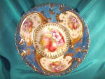 Click here to enlarge image and see more about item C351: RS PRUSSIA(OS)HEAVY GOLD BOWL W/FRUIT & FLRS