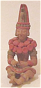 Mesoamerican Style Seated Male Pottery Figure