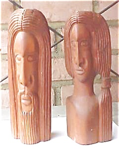 Hand Carved Wooden Couple - Signed (Image1)