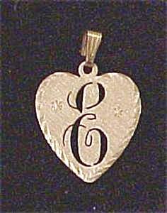 14 K Heart Shape Initial E Pendant (Image1)