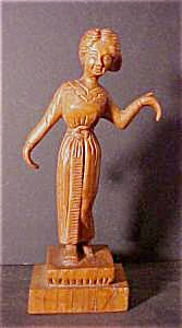 Vintage Wooden Hand-Carved Woman Figure (Image1)