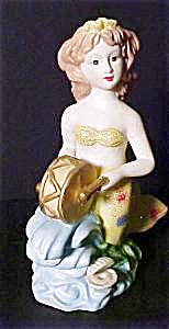 Ceramic Mermaid Playing A Drum