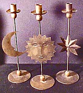 Wrought Iron Sun, Moon & Star, Candlesticks