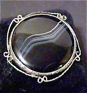 Silver Custom Made Black & White Agate  Pin (Image1)