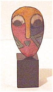African Miniature Raku Mask (Image1)