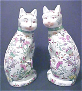 Pair Of Oriental Ceramic Cats