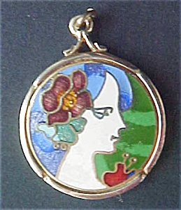 Brass Pendant With Enamel Portrait