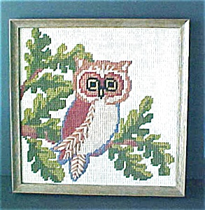 Framed Needlework Of Owl