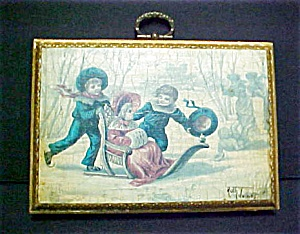 Vintage Antiqued Painting of Children At Play (Image1)