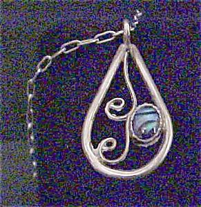 Native American Silver Paua Pendant w/Chain (Image1)