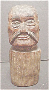 Vintage  Folk Art - Carved  Male Head (Image1)