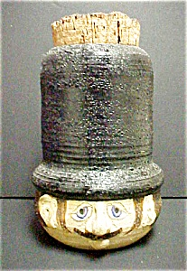 Vintage Top Hatted Clay Figural Male Head (Image1)