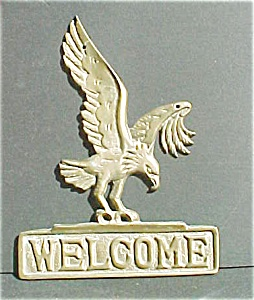 Vintage Cast Brass Eagle Welcome Sign (Image1)