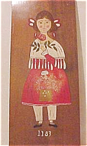 Painting of Young Girl on Wooden Board (Image1)
