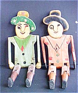 Vintage Pair Jointed Wood Character Men (Image1)