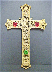 Gold Toned Metal Filigree Cross W/Stones (Image1)