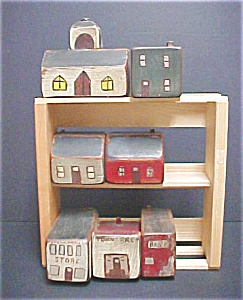 Seven Piece Folk Art Wooden Village