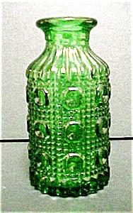 Round Rich Green Pressed Glass Vase (Image1)
