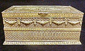 Apollo Gilt Metal Box - Wood Lined - Vintage (Image1)
