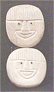 Eskimo Carved Bone Faces With Inlaid Eyes (Image1)