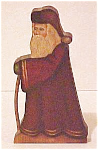 Old Fashion Wooden Saint Nick - Folk Art