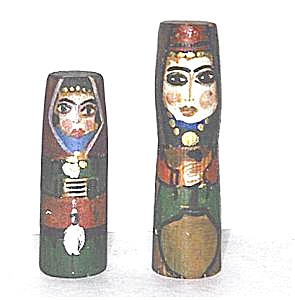 Hand Painted Folk Art Wooden Dolls - Signed (Image1)