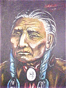 Native American Portrait  Painting - Signed (Image1)