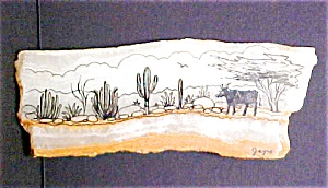 Western Pen and Ink Drawing On Quartz (Image1)