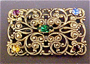 Edwardian Style  Multi-stone Gold Toned Pin (Image1)